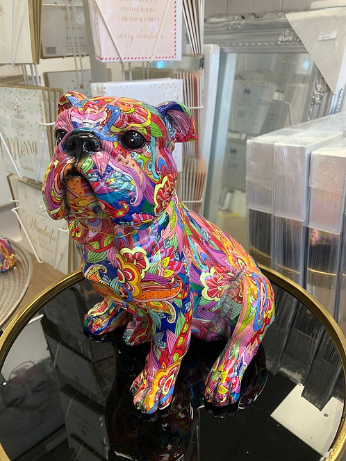 Multi Coloured Sitting Bulldog