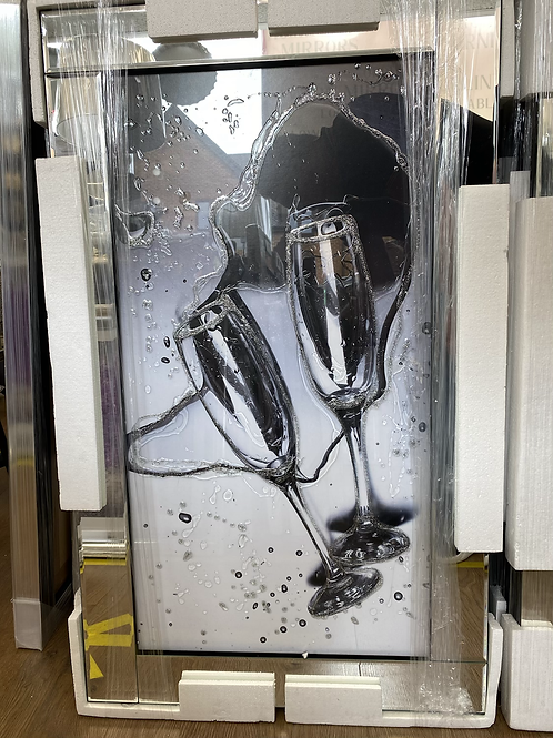 Champagne Glasses on Mirrored Frame