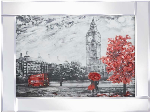 Big Ben with Red Trees on Mirrored Frame 95x75cm