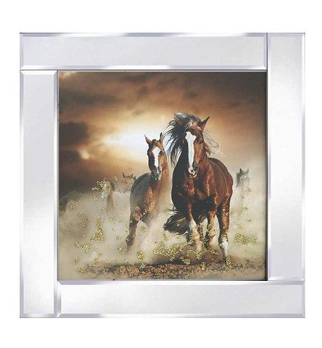 Horses on Mirrored Frame