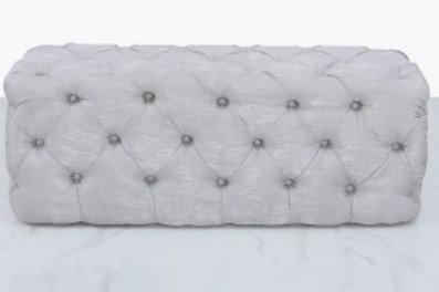 Grey Velvet Tufted Bench