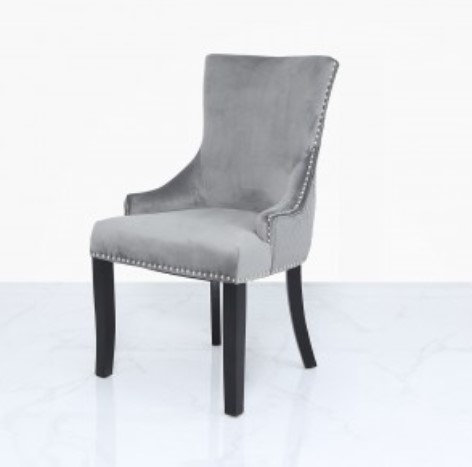 Grey Velvet Dining Chair With Ring Back