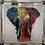 Thumbnail: Elephant on Chrome Scoop Frame 85x85cm