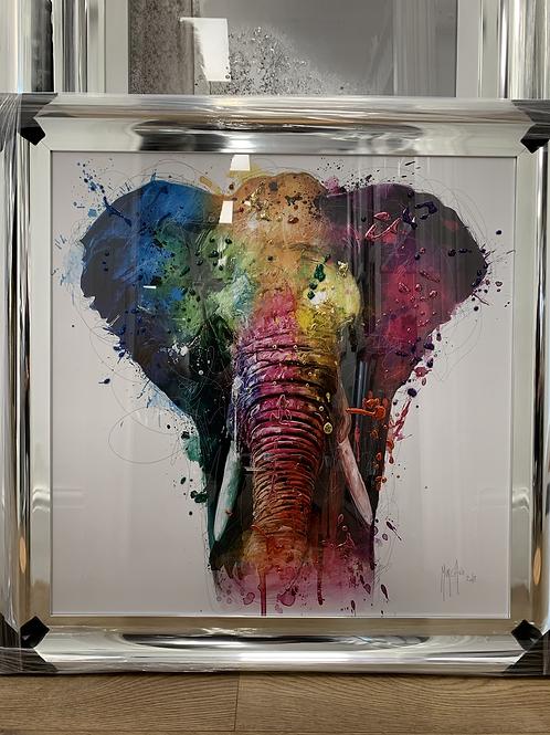 Elephant on Chrome Scoop Frame 85x85cm