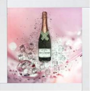3D Pink Champagne on Mirrored Frame 55x55cm