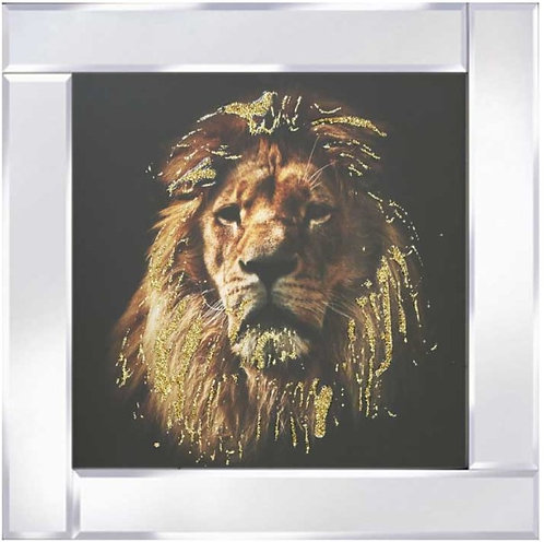 Lion on Mirrored Frame