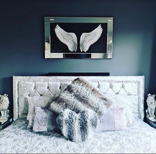 Angel Wings on Mirrored Frame 100x60cm