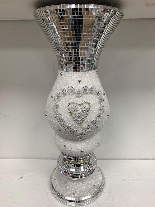 Medium White & Mirrored Heart Vase 47x20cm