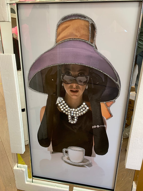 Lady in Hat with Tea Cup on Mirrored Frame