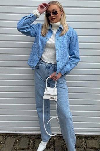 Blue Faux Suede Jacket