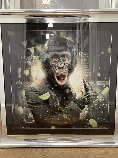 Cocktail Monkey on Chrome Scoop Frame 90x90cm