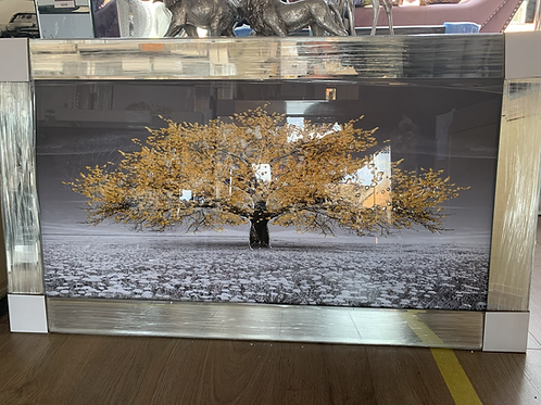 Champagne Cherry Tree on Mirrored Frame 110x60cm