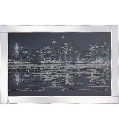 City Scene on Mirrored Frame