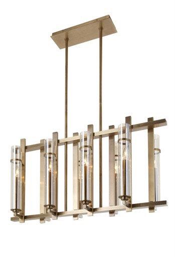 Latina 8 Light Long Brass Chandelier