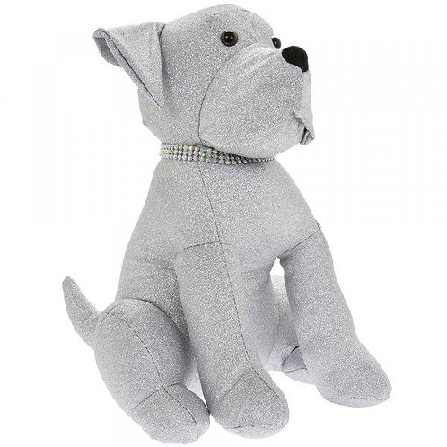Large Sparkly Silver Dog Doorstop