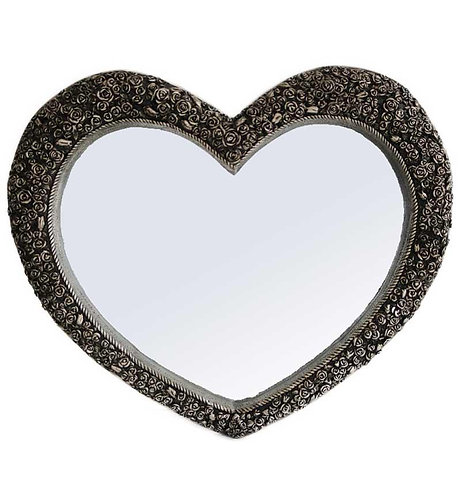 Antique Silver Rose Heart Mirror 110x90cm