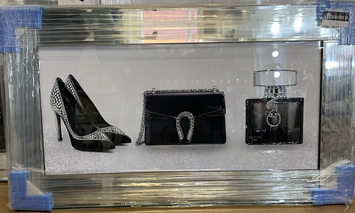Gucci Shoes, Bag & Perfume on Mirrored Frame 75x55cm