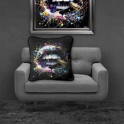 Colourful Lips Feather Filled Cushion 55x55cm