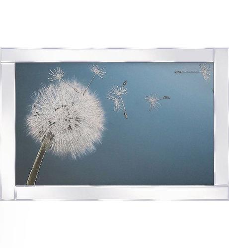 Dandelion Clock Flower on Mirrored Frame