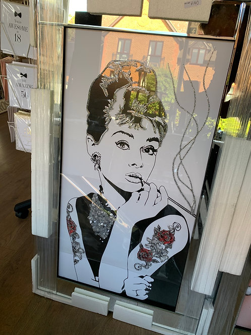 Audrey with Tattoos on Mirrored Frame