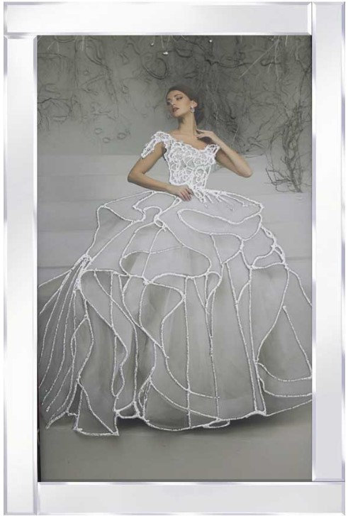 Lady in White on Mirrored Frame