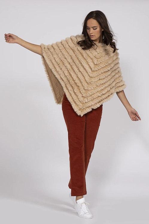 Mocha Cashmere Blend Faux Fur Poncho