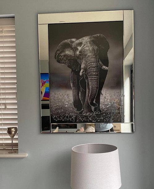 Elephant on Mirrored Frame 95x75cm
