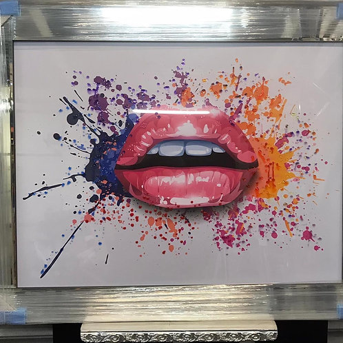 Lips on Mirrored Frame 95x75cm
