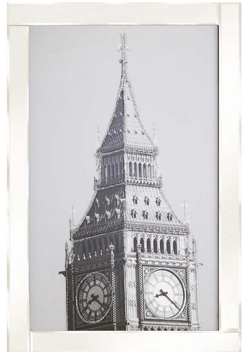 Big Ben on White Glass Frame