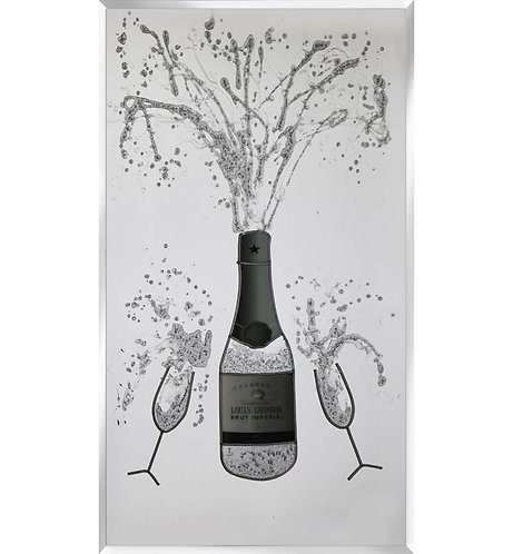 Champagne on Silver Mirror 100x60
