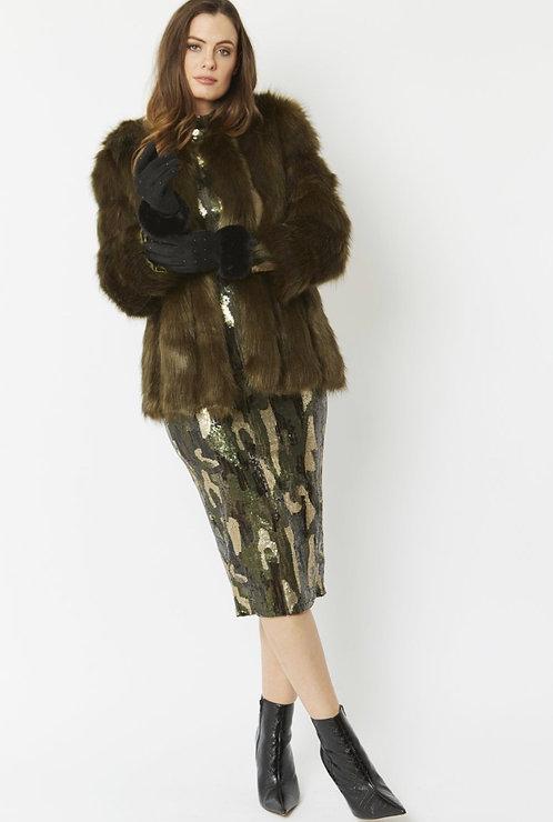 Black Faux Suede Gloves with Faux Fur Trim
