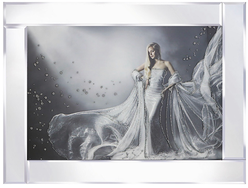 Lady in Ball Gown on Mirrored Frame 95x75cm