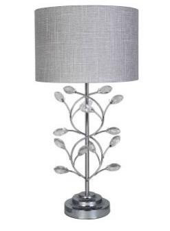 Chrome Metal Table Lamp with Light Grey Shade