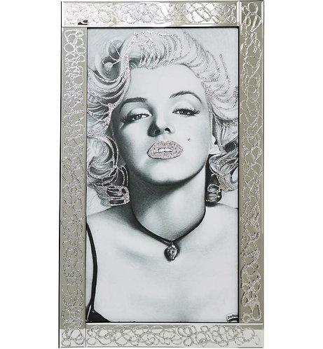 Marilyn & Black Necklce on Mirrored Frame