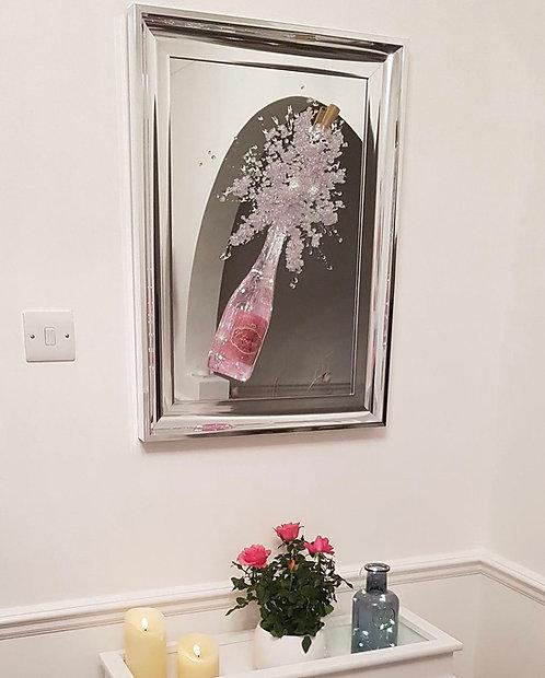 Light Up 3D Pink Champagne Mirror 75x55cm