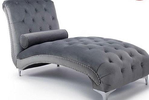 Grey Brushed Velvet Chaise