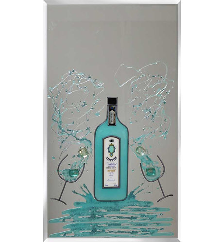 Gin Bottle on Silver Mirror 100x60cm