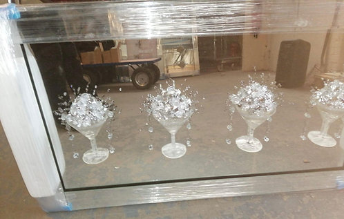 4 3D Silver Cocktail Glasses on Mirrored Frame 120x65cm