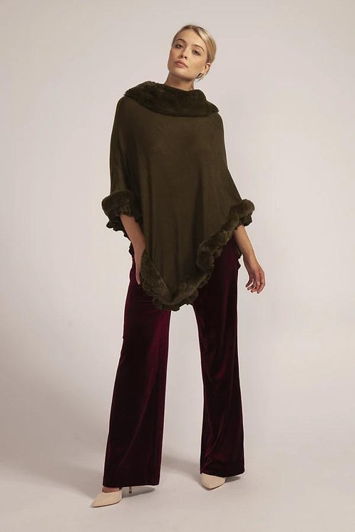 Olive Luxury Faux Fur Trim Knitted Poncho