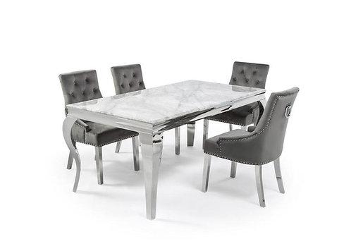 4 Chrome legged Marble Dining Table 1.8m