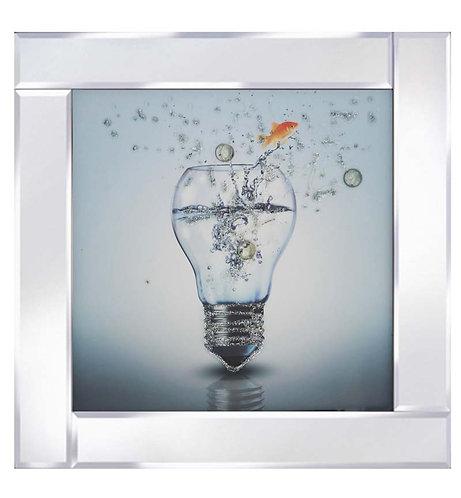 Light Bulb on Mirrored Frame