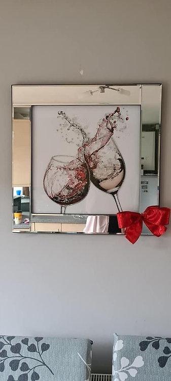 2 Wine Glasses on Mirrored Frame 60x60cm
