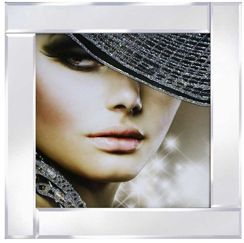 Lady in Sparkle Hat on Mirrored Frame