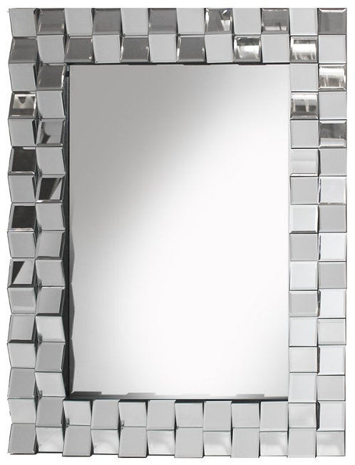 Double Faceted Border Silver Mirror