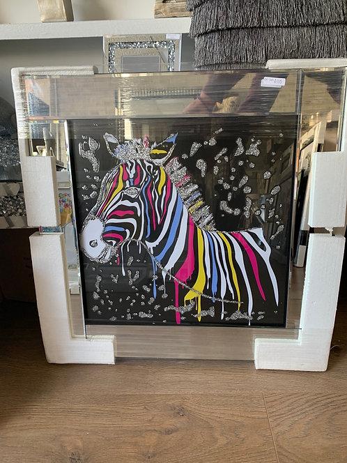 Neon Zebra on Mirrored Frame