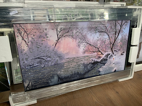 Calm River on Mirrored Frame