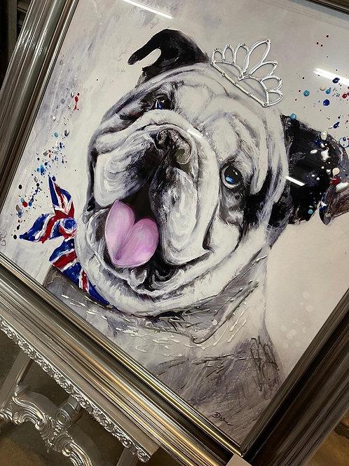 Bulldog on Mirrored Frame 90x90cm
