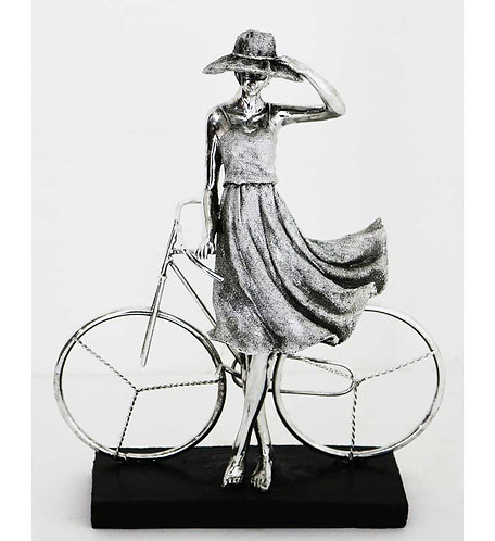 """13"""" Lady in Hat Standing with Bicycle"""