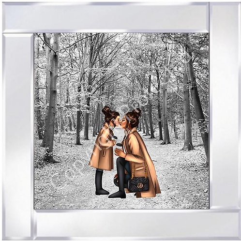 Mother & Daughter Brunette Forest on Mirrored Frame 55x55cm