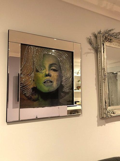 Marilyn on Mirrored Frame 60x60cm